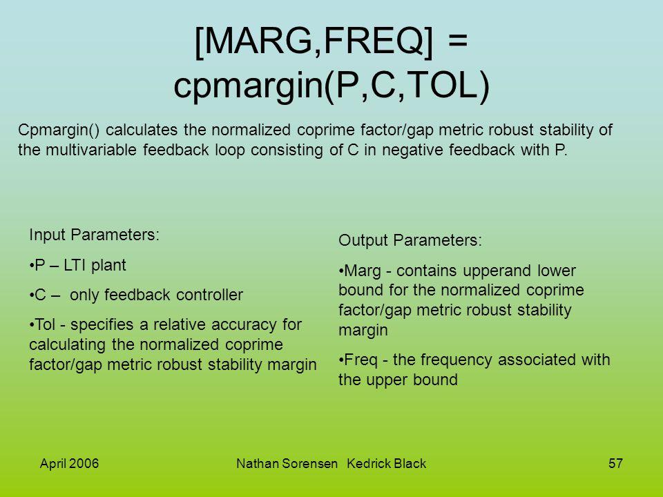 [MARG,FREQ] = cpmargin(P,C,TOL)